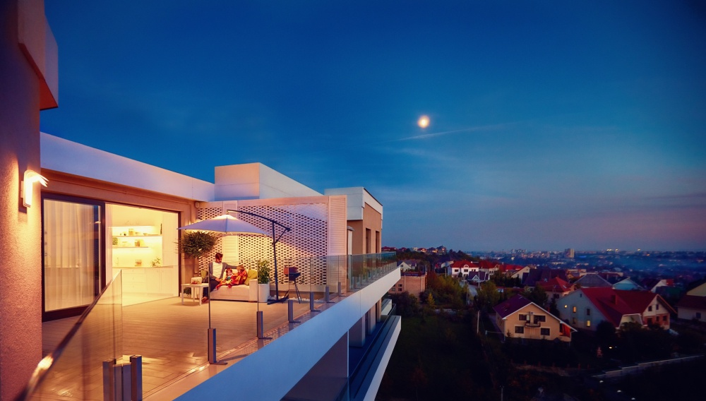 night view luxury home
